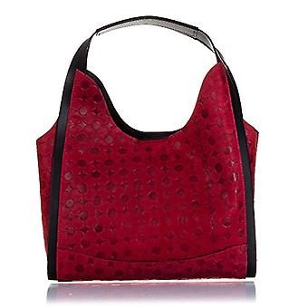 FIRENZE ARTEGIANI. Bag shopping bag real leather woman. Authentic leather bag engraved geometrically circles. Exclusive design handle. MADE IN ITALY. REAL ITALIAN SKIN. 33 x 24 x 15 cm. Color:Red