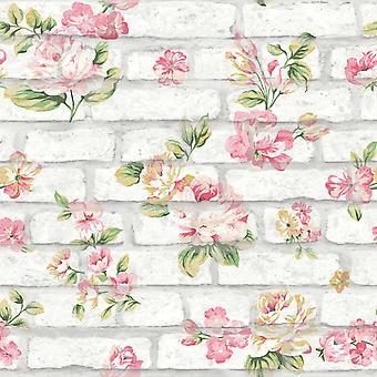 Shabby Chic Brick Whitewashed Pink Yellow Flowers Roses Stone Textured Embossed