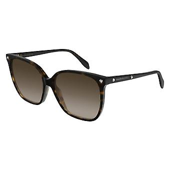 Alexander McQueen  Sunglasses Am0188s-002 59 Havana Brown Square Ladies Sunglasses