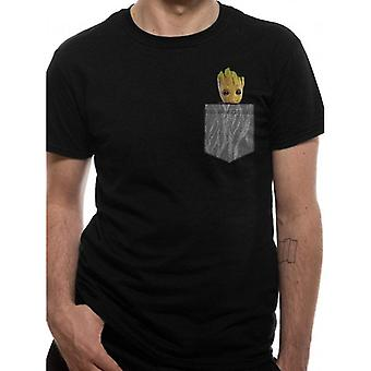 Guardians Of The Galaxy 2 Unisex Adults Cosy Groot Pocket Design T-Shirt