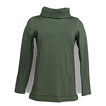 Denim & Co. Kobiety&s Top Francuski Terry w / Sherpa Collar Green A345238 PTC