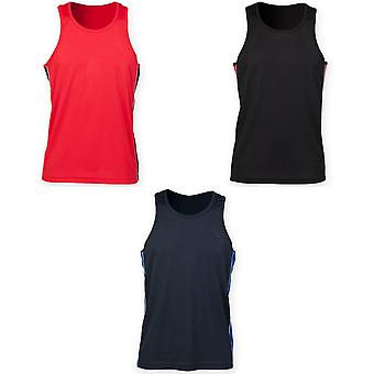 Finden & Hales Mens Performance Panel Moisture Wicking Sports Vest Top