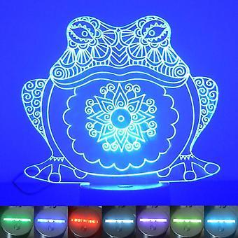 Mandala dekorative Frosch Farbwechsel LED Acryl Licht