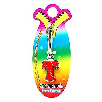 OOTB Initial T Red Hand Painted Base Metal 4.5 cm Glitter Zipper Puller