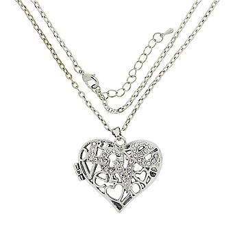 TOC Silvertone Rhinestone 'Love' Puffed Heart Locket Necklace 20
