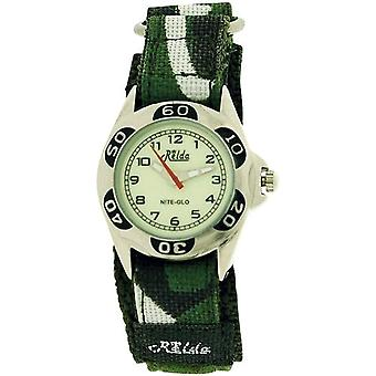 Relda Kids Nite-Glo Quartz Luminous Dial Army Green Easy Fasten Boys Watch REL64