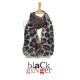 'Black Ginger' Grey Animal & Zebra Print Scarf (734-650)