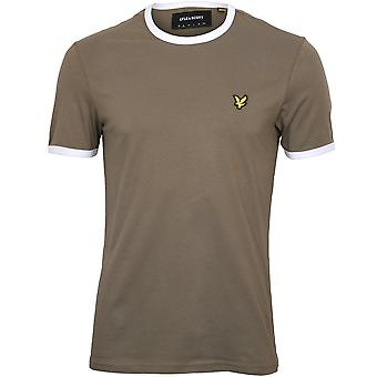 Lyle & Scott Contrast Trim Crew-Neck T-Shirt, Khaki/white