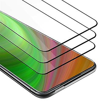 Cadorabo 3x Full Screen Tank Foil for OnePlus 7T PRO - 3 Pack Tempered Display Protective Glass in 9H Hardness with 3D Touch