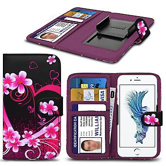 i-Tronixs Alcatel Onetouch Go Play Case PU Leather Love Hearts Printed Design Pattern Wallet Clamp Style Spring Skin Cover- Love Hearts