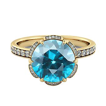 14K Gelb Gold 3.50 Ctw Aquamarin Ring mit Diamanten Blume Vintage Halo