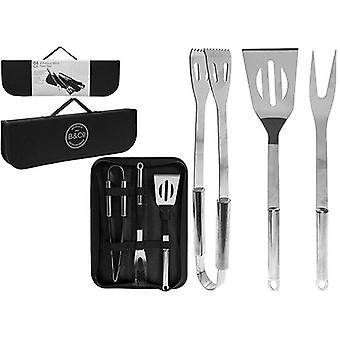 B&Co 3 Piece BBQ Tool Set With Carry Case