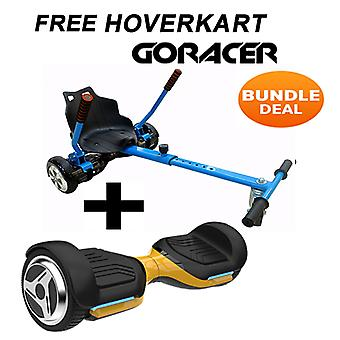 G PRO Gold Segway with a Racer Hoverkart in Blue