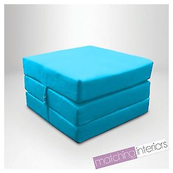 Lit régulier prêt (fr) Water Resistant Fold Out Z Bed Cube Mattress with Fastening (Turquoise)