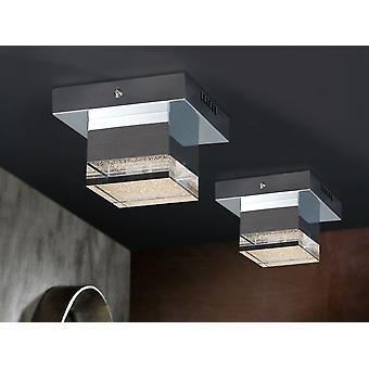 Schuller Prisma - lampe de plafond LED. Fait de métal, finition chromée. Ombre acrylique claire, avec côté supérieur texturé. 4W LED. 336 lm. 3.000 K. - 475168