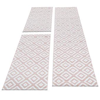 Tapijt Bed Border 3-delige korte flower runner set plaid patroon roze wit gesmolten