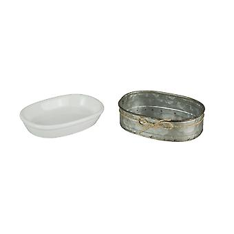 White Ceramic Soap Dish With Galvanized Zinc Finish Tray