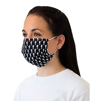 Mio UTS1 Under The Seahorse Navy and White Cotton Face Mask with Removable Nose Wire
