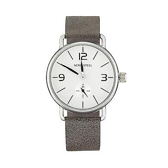 Nero Steel 114 Unisex Colt Charcoal Leather Strap Watch - Charcoal