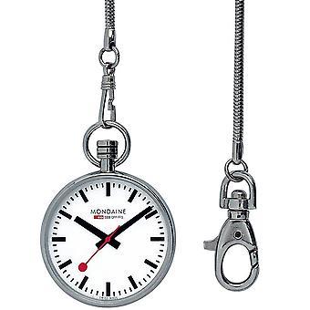 Mondaine Silver Stainless Steel White Dial Quartz Pocket Watch A660.30316.11SBB