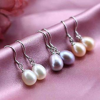 Genuine freshwater pearl drop hook sterling silver earrings for woman in white, light rose, lavender