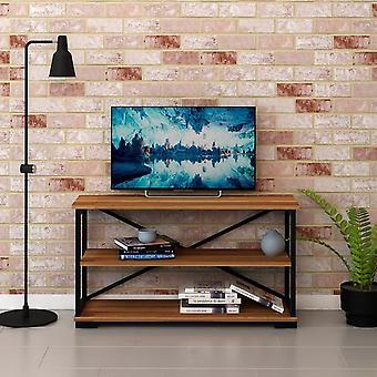 Mobile Porta TV Nuovo Colore Noce, Nero in Truciolare Melaminico, Metallo, L100xP30xA55 cm