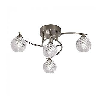 Vortex Satin Nickel Ceiling Lamp 4 Bulbs