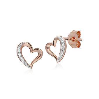 Classic Round Diamond Open Love Heart Stud korvakorut 9ct Rose Gold 191E0386019