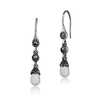 Jugendstil Süßwasser Perle & Marcasite Tropfen Ohrringe in 925 Sterling Silber 214E664701925