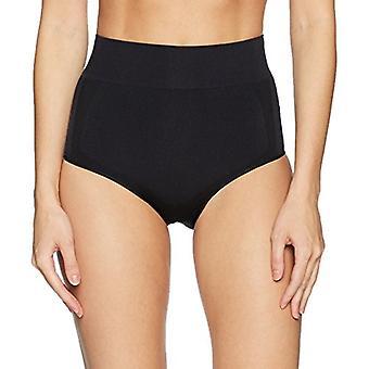Brand - Arabella Women's Shine and Matte Seamless High Waist Shapewear Brief, Black, X-Large