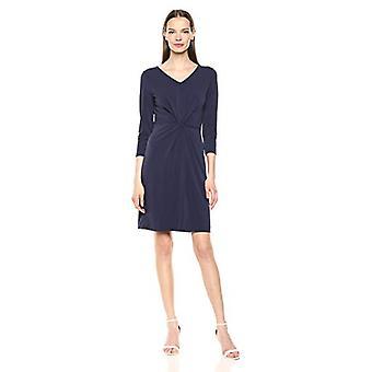 Lark & Ro Naiset&s Crepe Knit Three Quarter Sleeve Center Twist Dress, Navy, 6