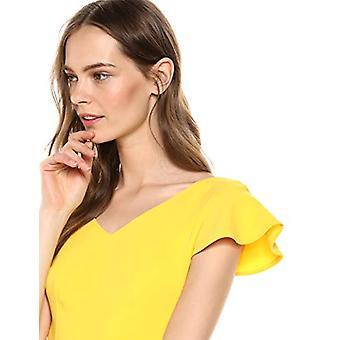 Lerche & Ro Frauen's Flutter Ärmel Doppel V Hals Mantel Kleid, Herzogin gelb, 4