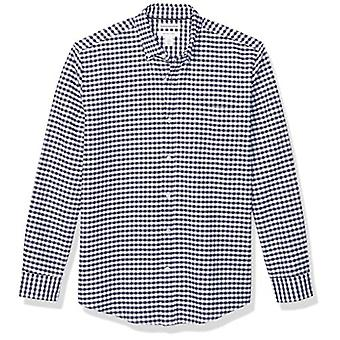 Essentials Men's Regular-Fit Gingham Uzun Kollu Cep Oxford Gömlek, ...