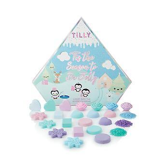 Tilly & Friends Bath Time Advent Calendar - 3 x 25g Heart Soap, 3 x 20g Square Soap, 4 x 30g Rose Soap, 4 x 25g Heart Fizzers, 3 x 20g Round Fizzers, 4 x 22g Snow Fizzers, 3 x 15g Bath Salts V2020