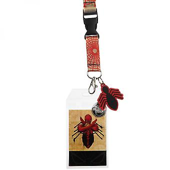 Spider-Man Crossed Arms Lanyard with Spider Charm and Sticker