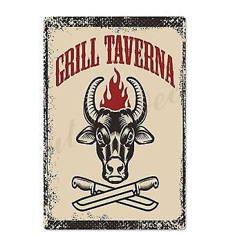 Bbq Metal Tin Sign Plaque For Wall Decor - Bar Pub Kitchen Party Zone Vintage Iron Painting