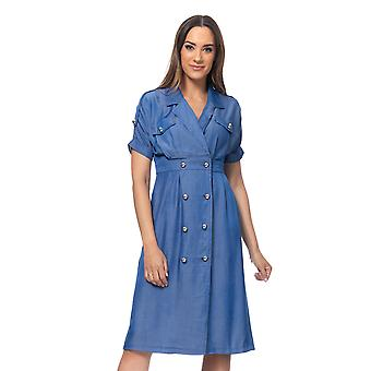 Shirt denim dress with gold buttons and pockets