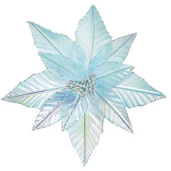 27cm Light Blue Clip-On Poinsettia Christmas Decoration