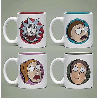 Rick and Morty Espressotassen Set Charaktere weiß, bedruckt, 4er-Set, 100 % Keramik, in Geschenkverpackung.