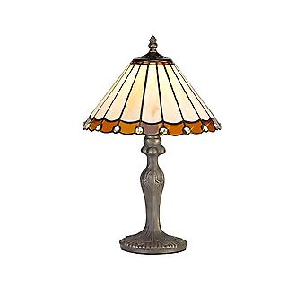 1 Light Curved Table Lamp E27 With 30cm Tiffany Shade, Amber, Crystal, Aged Antique Brass