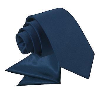 Navy Blue Plain Satin Tie & Pocket Square Set for Boys