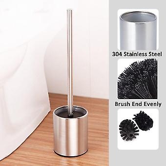 Stainless Steel Rust Resistant Toilet Brush And Vented Holder Set For Bathroom