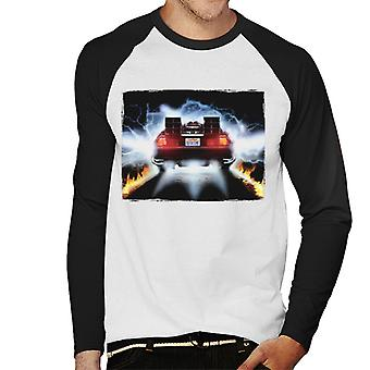 Back to the Future Delorean Taking Off For Time Travel Men's Baseball Long Sleeved T-Shirt