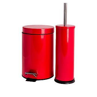 Papelera de pedal de baño (3 litros) y juego de cepillos de inodoro - acabado rojo
