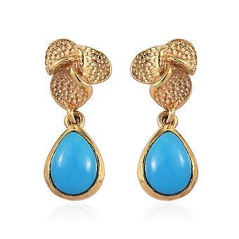 Boucles d'oreilles TJC Sleeping Beauty Turquoise Drop en 14ct Or Plaqué Argent 2.00 Ct.
