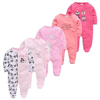 5pcs Baby Girl Boy Pijamas Fille Cotton Breathable Soft Rope Newborn Sleepers Baby Pajamas