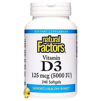 Luonnolliset tekijät D3-vitamiini, 5000 IU, 240 pehmeää geeliä