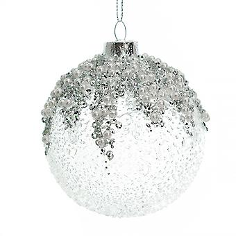 Single 8cm Textured Glass Bauble with Silver & Pearl Bead Embellishments