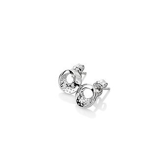 Diamantes calientes plata esterlina Quest Circle Pendientes DE650