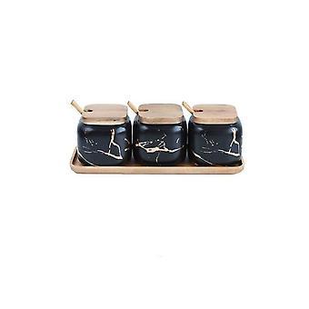 Creative Nordic Style, Marble Pattern Ceramic  Seasoning Tank Set